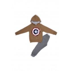 Παιδικό σετ μπέζ μπλούζα φούτερ Captain America με φόρμα Emery
