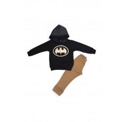Παιδικό σετ μαύρη μπλούζα φούτερ Batman με φόρμα Hashtag