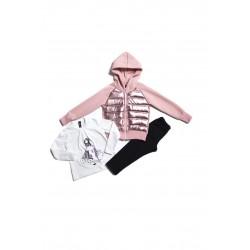 Παιδικό σετ σομόν ζακέτα με μπλούζα και κολάν Emery